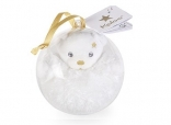 Mini bear gold Christmas bauble - white  bear