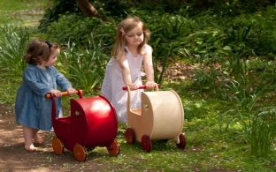Red Wooden Doll's Pram