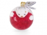 Mini bear gold Christmas bauble - red bear