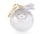 Mini bear gold Christmas bauble - white and grey bear