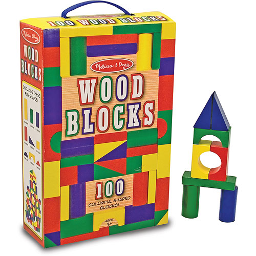 100 Wood Building Blocks Set