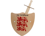 Personalised wooden sword and shield